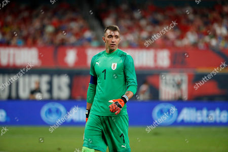Uruguay goalkeeper Fernando Muslera is seen during the second half of a friendly soccer match against the United States, in St. Louis. The game ended in a 1-1 tie