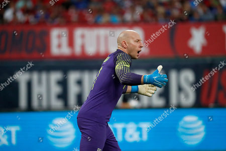United States goalkeeper Brad Guzan is seen during the first half of a friendly soccer match against Uruguay, in St. Louis