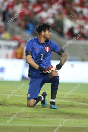 Goalkeeper Pedro Gallese of Peru reacts after blocking a shot during a friendly soccer match between Brazil and Peru at the Los Angeles Memorial Coliseum in Los Angeles, California, USA, 10 September 2019.