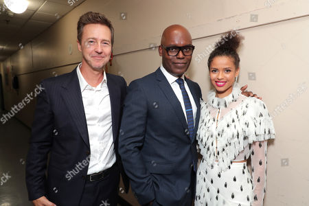 Stock Picture of Edward Norton, Writer/Director/Producer, Cameron Bailey, Artistic Director & Co-Head for TIFF, Gugu Mbatha-Raw