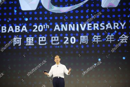 Daniel Zhang, CEO and Chairman of Alibaba Group, speaks on stage during a gala to celebrate the 20th anniversary of the e-commerce enterprise in Hangzhou, Zhejiang province, China, 10 September 2019 (issued 11 September 2019). Jack Ma formally resigned from his position at the company on 10 September.
