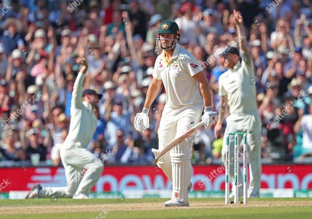 LONDON, ENGLAND. 15 SEPTEMBER 2019: Mitchell Marsh of Australia reacts after being caught out by Rory Burns of England, only to be reprieved as Chris Woakes had bowled a no ball, during day four of the 5th Specsavers Ashes Test Match, at The Kia Oval Cricket Ground, London, England.