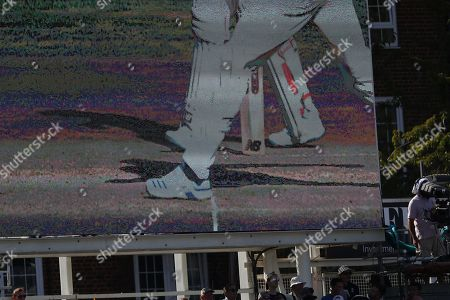 Stock Picture of LONDON, ENGLAND. 15 SEPTEMBER 2019: A view of the jumbo screen showing the over stepping fir a no ball of Chris Woakes during day four of the 5th Specsavers Ashes Test Match, at The Kia Oval Cricket Ground, London, England.