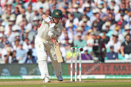 LONDON, ENGLAND. 15 SEPTEMBER 2019: David Warner plays a shot and is caught out during day four of the 5th Specsavers Ashes Test Match, at The Kia Oval Cricket Ground, London, England.