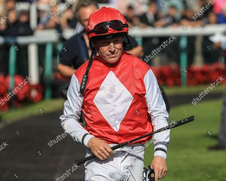 11th September 2019, Doncaster Racecourse, Doncaster, England; William Hill St Leger Festival - DC Training & Development Services Ltd Leger Legends Day, 3:30 Mondialiste Leger Legends Classified Stakes ; Kieren Fallon walks to the stage for the pre-race group photo