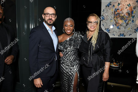 Stock Picture of Peter Kujawski, Chairman of Focus Features, Cynthia Erivo and Kasi Lemmons, Writer/Director