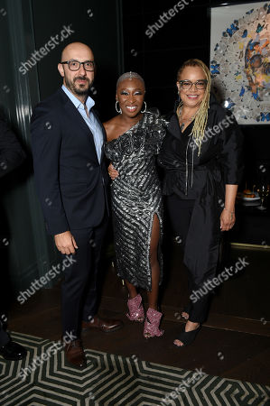 Stock Image of Peter Kujawski, Chairman of Focus Features, Cynthia Erivo and Kasi Lemmons, Writer/Director