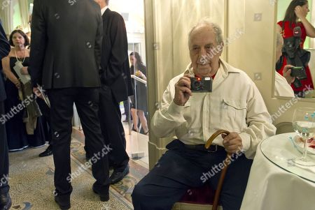 Stock Image of (FILE) - Swiss photographer Robert Frank waits for the start of the Swiss Press Photo Lifetime Achievement Award ceremony in Bern, Switzerland, 27 April 2012 (reissued 11 September 2019). Robert Frank, acclaimed photographer and one of the world's most influential documentary photographers and filmmakers, has died aged 94 on 09 September 2019.