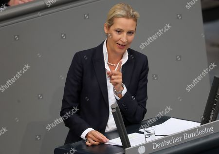 Bundestag faction co-chairwoman of the Alternative for Germany (AfD) right-wing populist party Alice Weidel speaks during a session of the German parliament 'Bundestag' in Berlin, Germany, 11 September 2019. Members of Bundestag debate on the government's draft budget for 2020 including the budget of the Federal Chancellor and Chancellery.