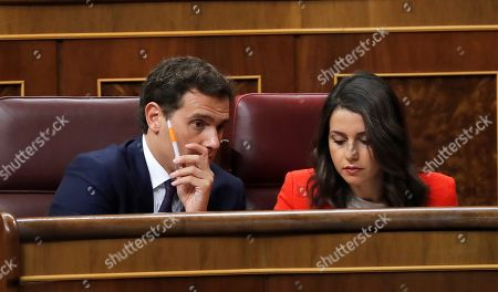 Leader of Spanish party Ciudadanos, Albert Rivera (L), and the party's spokeswoman at Parliament, Ines Arrimadas (R), attend question time at the Lower House in Madrid, Spain, 11 September 2019. Spanish acting Prime Minister Sanchez on the day informed Parliament about the contents of the agreements achieved during the last European Union Councils held in June and July 2019 as well as to report the last novelties on Brexit.