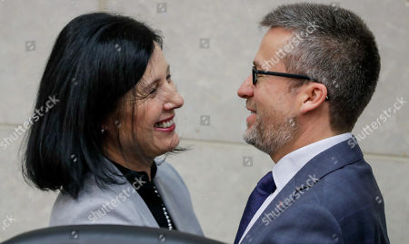 European Commissioner for Justice, Consumers and Gender Equality Vera Jourova (L) and  Commissioner responsible for Research, Science and Innovation, Portuguese Carlos Moedas attend the weekly college meeting of the European Commission in Brussels, Belgium, 11 September 2019.