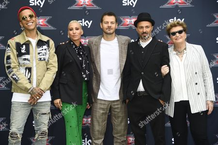 Rapper Sfera Ebbasta, singer Malika Ayane, tv conducer Alessandro Cattelan, singer Samuel, record producer Mara Maionchi