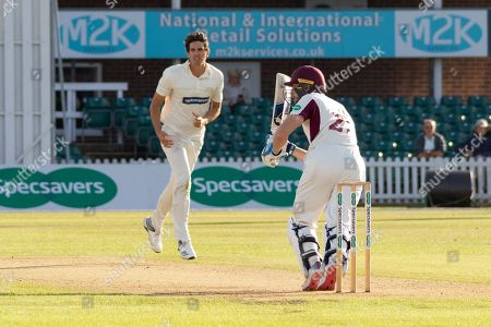 Rob Keogh hits Chris Wright for 4 during the Specsavers County Champ Div 2 match between Leicestershire County Cricket Club and Northamptonshire County Cricket Club at the Fischer County Ground, Grace Road, Leicester