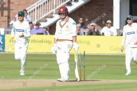 WICKET - Richard Levi is bowled by Chris Wright during the Specsavers County Champ Div 2 match between Leicestershire County Cricket Club and Northamptonshire County Cricket Club at the Fischer County Ground, Grace Road, Leicester