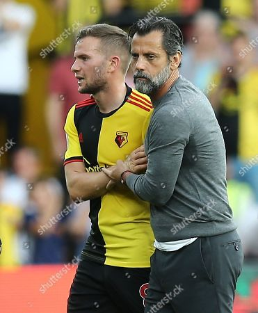 Quique Sanchez Flores manager of Watford and Tom Cleverley of Watford after the match