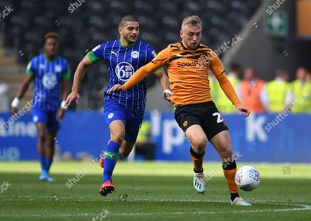 Sam Morsy of Wigan Athletic and Jarrod Bowen of Hull City