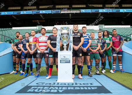 Premiership Rugby Season Launch: Bath Rugby ? Rhys Priestland, Bristol Rugby ? Nathan Hughes, Exeter Chiefs - Don Armand, Gloucester Rugby ? Danny Cipriani, Harlequins ? Mike Brown, Leicester Tigers ? Tom Youngs, London Irish ? Blair Cowan, Northampton Saints ? Tom Wood, Sale Sharks ? Chris Ashton, Saracens ? Alex Goode, Wasps ? Dan Robson & Worcester Warriors - Francois Hougaard