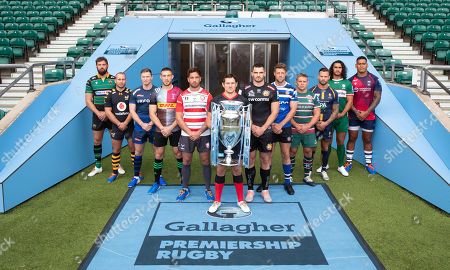 Premiership Rugby Season Launch: Bath Rugby - Rhys Priestland, Bristol Rugby - Nathan Hughes, Exeter Chiefs  -  Don Armand, Gloucester Rugby - Danny Cipriani, Harlequins - Mike Brown, Leicester Tigers - Tom Youngs, London Irish - Blair Cowan, Northampton Saints - Tom Wood, Sale Sharks - Chris Ashton, Saracens - Alex Goode, Wasps - Dan Robson & Worcester Warriors  -  Francois Hougaard