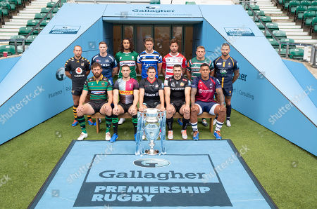 Stock Image of Premiership Rugby Season Launch: Bath Rugby - Rhys Priestland, Bristol Rugby - Nathan Hughes, Exeter Chiefs  -  Don Armand, Gloucester Rugby - Danny Cipriani, Harlequins - Mike Brown, Leicester Tigers - Tom Youngs, London Irish - Blair Cowan, Northampton Saints - Tom Wood, Sale Sharks - Chris Ashton, Saracens - Alex Goode, Wasps - Dan Robson & Worcester Warriors  -  Francois Hougaard