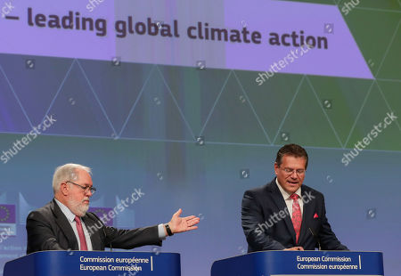 EU Commissioner for Energy and Climate Action Miguel Arias Canete (L) and European Commission Vice-President for Energy Union Maros Sefcovic give a press conference on the EU leading global climate action at the European Commission in Brussels, Belgium, 11 September 2019.