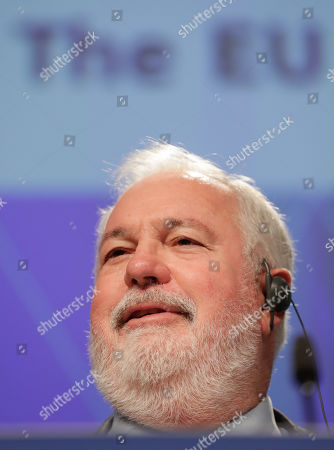 EU Commissioner for Energy and Climate Action Miguel Arias Canete and European Commission Vice-President for Energy Union Maros Sefcovic (not seen) give a press conference on the EU leading global climate action at the European Commission in Brussels, Belgium, 11 September 2019.