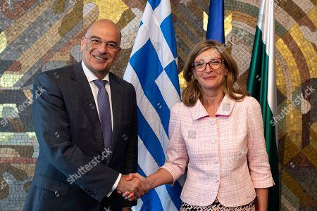 Bulgarian Foreign Minister Ekaterina Zaharieva (R) welcomes Greek Foreign Minister Nikolaos Dendias (L) in Sofia, Bulgaria, 11 September 2019. Greek Foreign Minister Nikolaos Dendias is on an official visit to Sofia.