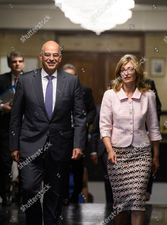 Bulgarian Foreign Minister Ekaterina Zaharieva (R) and Greek Foreign Minister Nikolaos Dendias (L) in Sofia, Bulgaria on 11 September 2019. Greek Foreign Minister Nikolaos Dendias is on an official visit to Sofia.