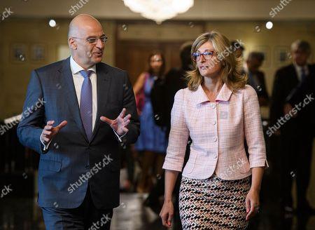 Editorial photo of Greek Foreign Minister Nikolaos Dendias in Sofia., Bulgaria - 11 Sep 2019