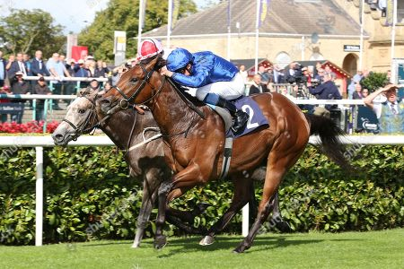 LAZULI (2) ridden by William Buick trained by Charlie Appleby and owned by Godolphin winning The British Stallion Studs EBF Conditions Stakes over 6f (£18,000)  during the opening day of the St Leger Festival at Doncaster Racecourse, Doncaster