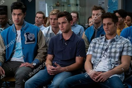 Ross Butler as Zach Dempsey, Brandon Flynn as Justin Foley, Tyler Barnhardt as Charlie St. George and Timothy Granaderos as Montgomery de la Cruz