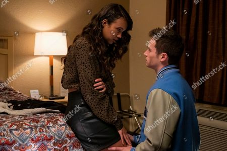 Alisha Boe as Jessica Davis and Brandon Flynn as Justin Foley