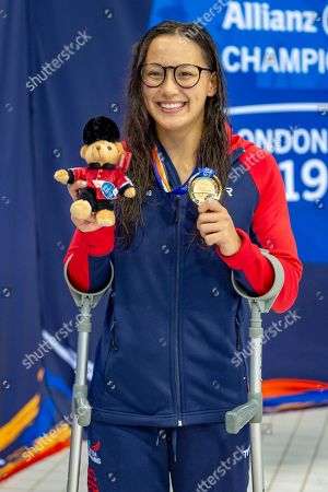 Alice Tai of Great Britain with her Gold Medal won in the Women's 100 m Butterfly S8 during the World Para Swimming Championships 2019 Day 3 held at London Aquatics Centre, London