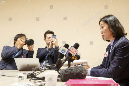 Pansy Ho, Chairwoman of the Federation for Women in Hong Kong, speaks to journalists from ACANU (Association of the Accredited Correspondents to the United Nations) during a press conference after delivering her speech at Human Rights Council, at the European headquarters of the United Nations in Geneva, Switzerland, 11 September 2019.