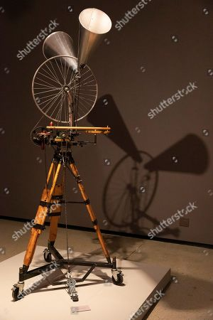 A sculpture in a series 'Kinetic Sculptures' titled Bicycle Wheel (double megaphone) 2012 by South African artist William Kentridge is on display as part of the 'Why Should I Hesitate: Sculpture' show at the Norval Foundation Art Museum in Cape Town, South Africa, 11 September 2019. The exhibition runs through to March 2020. The sculptures form part of a wider body of work exhibited also at the Zeitz Museum of Contemporary Art Africa. The two venues stage a large oeuvre of Kentridge's 40 year career showing works including charcoal drawings, woodcut prints, stop-frame animation, tapestries, installation, video and sculpture. In addition the show pays particular attention to the role of studio practice in Kentridge's career.