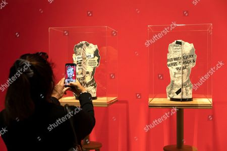 Sculpture in a series 'Heads' by South African artist William Kentridge are on display as part of the 'Why Should I Hesitate: Sculpture' show at the Norval Foundation Art Museum in Cape Town, South Africa, 11 September 2019. The exhibition runs through to March 2020. The sculptures form part of a wider body of work exhibited also at the Zeitz Museum of Contemporary Art Africa. The two venues stage a large oeuvre of Kentridge's 40 year career showing works including charcoal drawings, woodcut prints, stop-frame animation, tapestries, installation, video and sculpture. In addition the show pays particular attention to the role of studio practice in Kentridge's career.