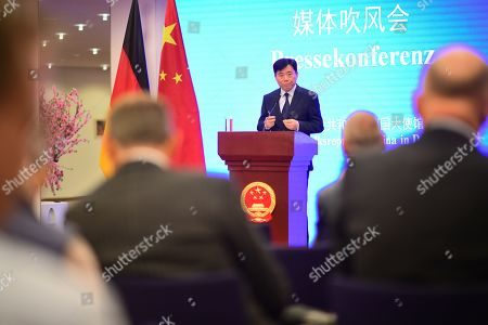 Chinese Ambassador to Germany Wu Ken speaks in front of journalists during a press conference at the Chinese Embassy in Berlin, Germany, 11 September 2019. The press conference takes place on the same day, some hours after Hong Kong Demosisto party Secretary General and pro-democracy activist Joshua Wong gave a press conference by himself to the German press. Some of German journalists were not allowed to participate, with the justification of limited space.