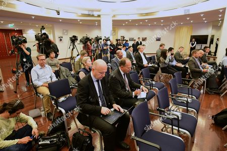 Stock Picture of Journalists follow a press conference with Chinese Ambassador to Germany Wu Ken (not in the picture) at the Chinese Embassy in Berlin, Germany, 11 September 2019. The press conference takes place on the same day, some hours after Hong Kong Demosisto party Secretary General and pro-democracy activist Joshua Wong gave a press conference by himself to the German press. Some German journalists were not allowed to participate, with the justification of limited space.
