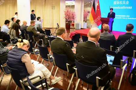 Journalists follow a press conference with Chinese Ambassador to Germany Wu Ken (not in the picture) at the Chinese Embassy in Berlin, Germany, 11 September 2019. The press conference takes place on the same day, some hours after Hong Kong Demosisto party Secretary General and pro-democracy activist Joshua Wong gave a press conference by himself to the German press. Some German journalists were not allowed to participate, with the justification of limited space.
