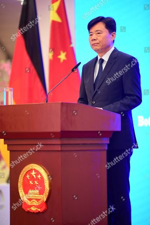 Stock Photo of Chinese Ambassador to Germany Wu Ken speaks in front of journalists during a press conference at the Chinese Embassy in Berlin, Germany, 11 September 2019. The press conference takes place on the same day, some hours after Hong Kong Demosisto party Secretary General and pro-democracy activist Joshua Wong gave a press conference by himself to the German press. Some of German journalists were not allowed to participate, with the justification of limited space.
