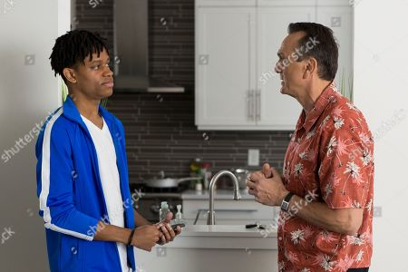 Stock Photo of Tyrel Jackson Williams as Charles and Hank Azaria as Jim Brockmire