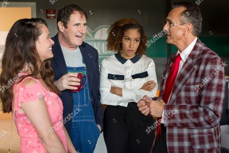 Stock Picture of Christine Woods as Maggie Nickols, Richard Kind as Gus Barton, Tawny Newsome as Gabby Taylor and Hank Azaria as Jim Brockmire