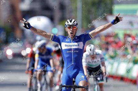 Stock Photo of Belgian rider of Deceuninck-Quick Step team Philippe Gilbert celebrates his victory in the 17th stage of the Vuelta a Espana cycling race over 219.6km from Aranda de Duero to Guadalajara, Spain, 11 September 2019.