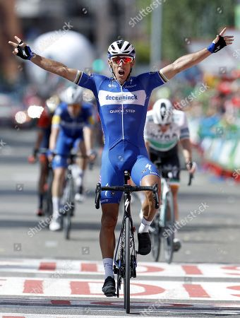 Stock Image of Belgian rider of Deceuninck-Quick Step team Philippe Gilbert celebrates his victory in the 17th stage of the Vuelta a Espana cycling race over 219.6km from Aranda de Duero to Guadalajara, Spain, 11 September 2019.
