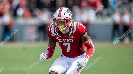 Stock Picture of North Carolina State's Chris Ingram drops back on defense during an NCAA college football game in Raleigh, N.C