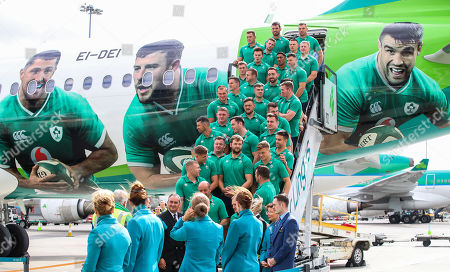 Stock Picture of As the Official Airline of the Irish Rugby Team, Aer Lingus was proud to send the Irish rugby squad on their way to Japan and to help to bring Home Advantage wherever we play. Pictured boarding Aer Lingus' Green Spirit, flight EI174, to London Heathrow this afternoon was the Irish rugby squad led by Captain Rory Best. Aer Lingus cabin crew and ground staff formed a guard of honour as they boarded the aircraft. Flight EI174 was operated by Aer Lingus Captain Thomas Jordan and First Officer Nicholas Power. Pictured is the Ireland team before departing for Japan
