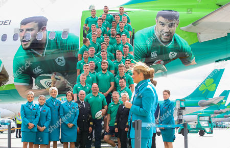 Editorial image of Ireland Rugby Team Depart For Japan With Official Airline Partner Aer Lingus, Dublin Airport  - 11 Sep 2019
