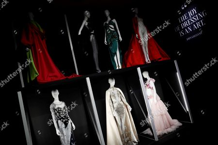 Several models are on display during the press preview of the exhibit 'The invented body' at Azca art gallery and showroom in Madrid, Spain, 11 September 2019. The exhibit displays over 80 creations of historical importance, wore by celebrities as US actress and singer Marilyn Monroe, Italian actress Sofia Loren or German supermodel Claudia Schiffer, that will run from 12 September until 25 December.
