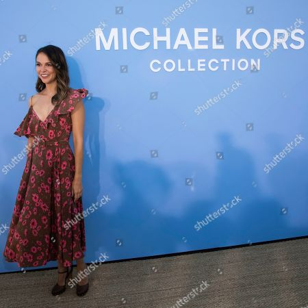 Sutton Foster attends the Michael Kors runway show at Duggal Greenhouse during NYFW Spring/Summer 2020, in Brooklyn, New York