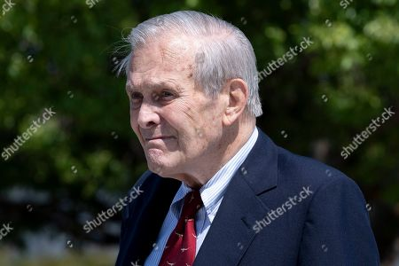 Stock Picture of US Secretary of Defense Donald Rumsfeld participates in a wreath-laying ceremony to commemorate the 18th anniversary of the 9/11 terrorist attacks, at the Pentagon in Arlington, Virginia, USA, 11 September 2019.