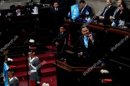 President of Guatemala, Jimmy Morales, speaks at the Congress during a solemn session for the country's Independence Day in Guatemala City, Guatemala, 11 September 2019. Morales accused the media of being 'slaves' of the International Commission Against Impunity in Guatemala (CICIG), an entity sponsored by the United Nations to investigate and prosecute serious crime in Guatemala that concluded its work on 03 September after 12 years.